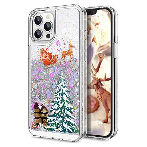 """CinoCase Case for iPhone 12/12 Pro, 3D Liquid Case [Christmas Collection] Flowing Quicksand Stars Bling Glitter Snowflake Christmas Tree Santa Claus Pattern Case for iPhone 12/12 Pro 6.1"""" Multicolor"""
