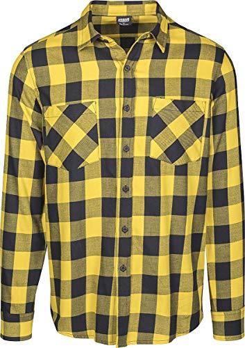 Urban Classics Checked Flannel Shirt Uomo Camicia in Flanella Nero/Giallo XL 100% Cotone Regular