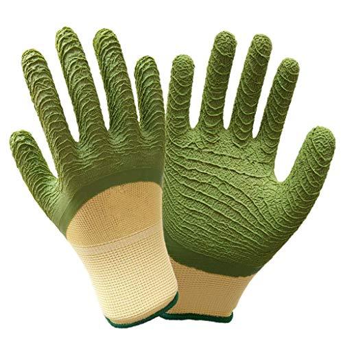BBRR - Guantes de trabajo con revestimiento de poliuretano, 12 pares de puños de punto ideal para reparación automática del hogar (guantes verdes)