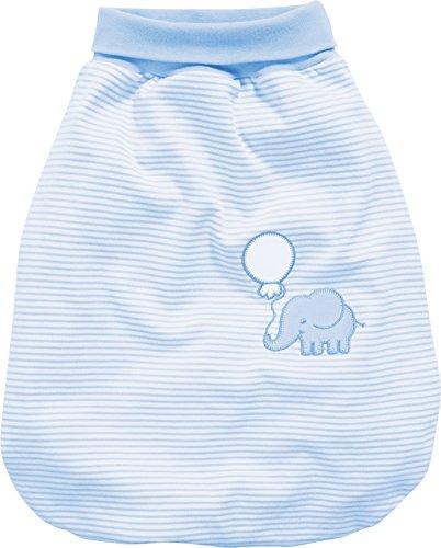 Schnizler Kleinkinder Strampelsack aus Baumwolle, praktischer Pucksack mit elastischem Umschlag-Bund, mit Elefanten-Motiv gestreift