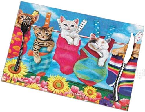 Juego de 6 manteles individuales para gatos, lavables, antideslizantes, resistentes a las manchas, para mesa, antideslizantes, de 12 x 18 pulgadas