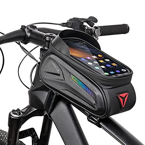 Fahrradtasche Rahmentaschen Wasserdicht Fahrrad Handytasche Rahmen Mit Grosse Kapazität Lager und Reflektierender Streifen Lenkertasche Oberrohrtasche Fahrrad für Smartphone unter 7 Zoll