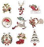 Thunaraz 9Pcs Christmas Brooch Pin Set for Family Rhinestone Crystal Cute Christmas Pins for Xmas Santa Claus Christmas Tree Reindeer Pins Set Holiday Xmas Gift