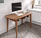 Monza Computer Desk, Mid Century Desk with Recessed Drawers, Writing Desk for Small Area - (Walnut/Walnut)