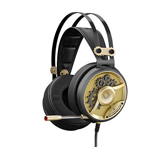 M660 Gold Gaming Headset 3.5mm Connector - Playstation 4 | Xbox One | PC/MAC | Ultra High Dynamic Range | Omni-Directional Microphone Boom | Ultra Plush Ear Cuffs | - Orange LED USB