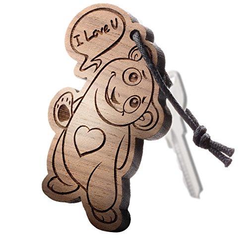 """schenkYOU® Premium Schlüsselanhänger aus Nussbaumholz vorgraviert - personalisierte Geschenkidee - Gravur """"I Love You"""""""