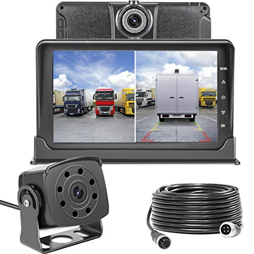 Upgrade Dash Cam Front and Rear,Homder 7'' Monitor Front Lens with G-Sensor/Loop Recording/Motion Detection,IP69 Night Vision Rear View Camera Reversing Backup Camera for Trucks,Bus,Van,RV,Trailer