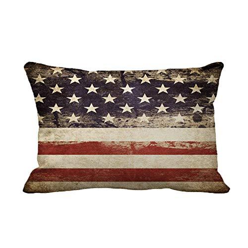 Fundas de Cojines Fundas de Almohada Bandera Azul patriótica Americana JOOSUP USA Antique 45X45CM