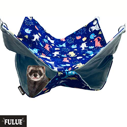 FULUE Ferret Rat Hammock Bed Nation Cage Accessories Kit Set Staff House and Hideouts Cave for Guinea Pig Ferret 13.8inch