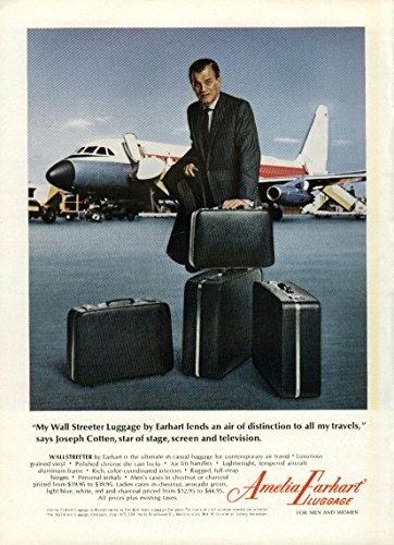 Joseph Cotten for Amelia Earhart Wall Streeter Luggage ad 1965