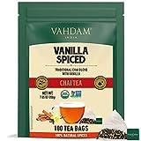 VAHDAM, Masala Chai con Especias de Vainilla   100 bolsitas de té   ALIVIO Y REFRESCAMIENTO   Té Masala Chai   Bolsa de té con especias Chai   Preparar como té caliente, frío o helado