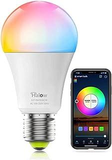 HALOW Smart Light   LED Light Bulb - WiFi Smart - E27 Smart Bulb - 9W RGB   Alexa and Google Home   Dimmable   Timer   Mus...