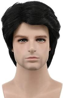 Karlery Mens Short Curly Fluffy Dark Black Wig Halloween Costume Wig Cosplay Party Wig