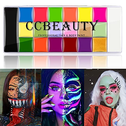 CCbeauty Face Paint 20 Colors (14 Regular Colors + 6 Fluorescent Colors)...