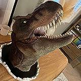 EKOUSN Large Jurrasic World Dinosaur Wall Mounted Head Statue Bust, Jurassic King T-Rex, Dinosaur Head Wall Hanging Sculpture, Wall Art 3D Sculpture for Home Decoration (Dinosaur-Yellow)