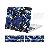 MOSISO Funda Dura Compatible con 2016-2020 MacBook Pro 13 Pulgadas A2338 M1 A2251 A2289 A2159 A1989 A1706 A1708, Estuche Rígido Plástico&Funda para Teclado&Protector de Pantalla, Mármol Azul Negro