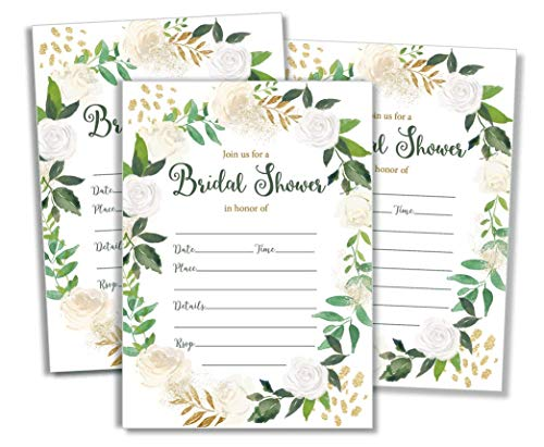 50 Greenery Wreath Bridal Shower Invitations and Envelopes (Large Size 5x7) - (50 Count)