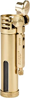Classic Design Antique Style Brass Metal Oil Petrol Cigarette Lighter with Fuel Window (Gold)