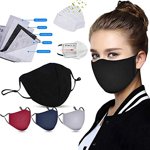 Rowa 4 Pcs Adult Face_Masks with 8 Pcs Activated Filter, Machine Washable Face_Masks for Glasses Wearers, Reusable Dust Cotton Fabric, Adjustable Protection Shield