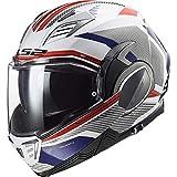 LS2 FF900 VALIANT II REVO Casco de moto con tapa frontal abatible para scooter, cara abierta, doble visera DVS Sports Touring, Azul/rojo/blanco., medium