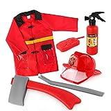Rubyu Costume De Pompier Jeu De Rôle Professionnel, Deguisement Pompier Enfants, Unisexe Costume de Chef des Pompiers Cadeau d'anniversaire