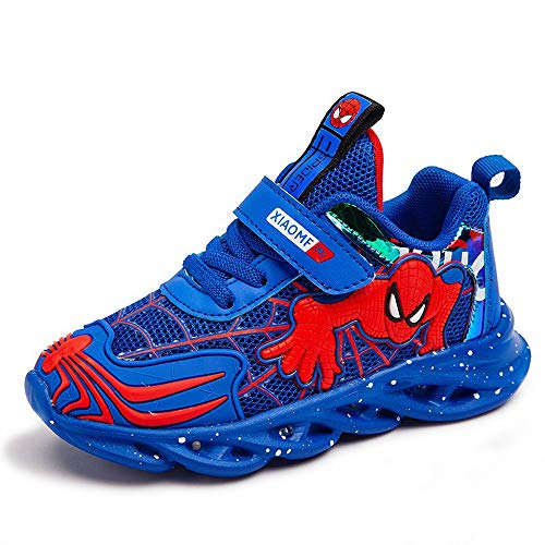 Spider man Leuchtschuhe Kinder Turnschuhe Jungen und Mädchen Kinder Laufschuhe Sportschuhe Leichte Casual Sneakers Wasserdicht Leder Sneakers (Große Kinder), Blau - Mesh Schuhe blau - Größe: 1 UK