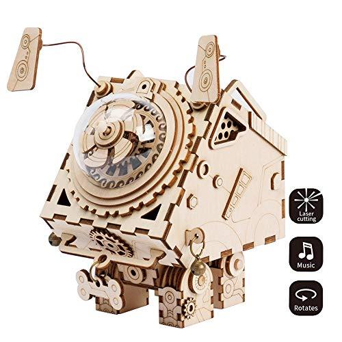 3D Dreidimensionale Puzzle Handarbeit Aus Holz Puzzle Pädagogisches Spieluhr Bastelset Roboter-Hund Spielzeug DIY Mechanisches Modell
