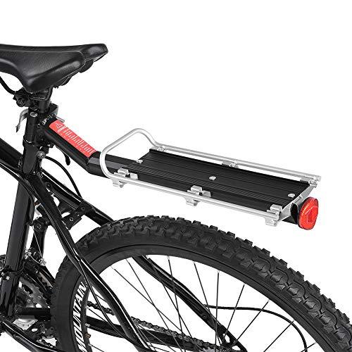 Elprico Portapacchi per Bici, Portapacchi Posteriore per Bici Portapacchi Regolabile per Mountain Bike Portabici Portapacchi Reggisella Mensola Posteriore Lega di Alluminio Nero