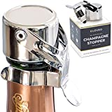 Champagne Stoppers by Kloveo - Patented Seal (No Pressure Pump Needed) Made in Italy - Professional Grade WAF Champagne...