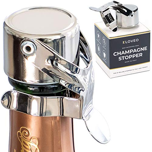 Champagne Stoppers by Kloveo - Patented Seal (No Pressure Pump Needed) Made in Italy - Professional Grade WAF Champagne Bottle Stopper - Prosecco, Cava, and Sparkling Wine Stopper