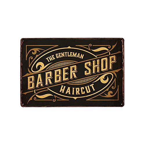 GGLLBL Barber shop afeitado cabeza corte de pelo retro estaño logo signo publicidad llamativo pared decoración 20x30cm