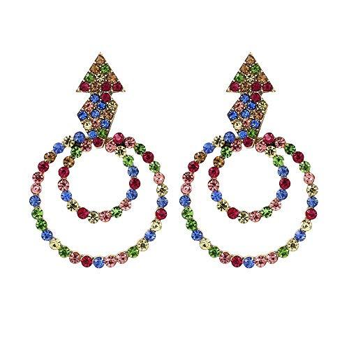 TIANYOU Novedad Joyas-Pendientes para mujer Europa y América Exagerados Super Flash Pendientes de diamantes de imitación Moda Retro Círculo geométrico Pendientes Joyas de colores Ar