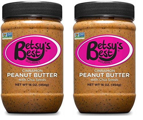 Gourmet Cinnamon Peanut Butter w/Chia Seeds by Betsy's Best - All Natural and GMO Free (Cinnamon Chia, 2 16 oz Jars)