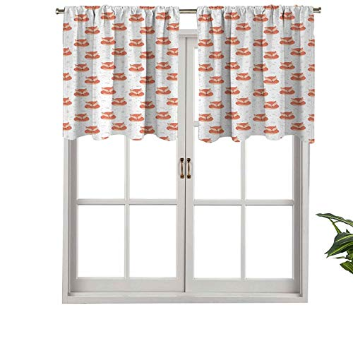 Hiiiman Short Blackout Curtain Valance Rod Pocket Cute Sleeping Animals Pattern on Heats Leaves Background, Set of 1, 54'x18' Kitchen Curtains for Living Room