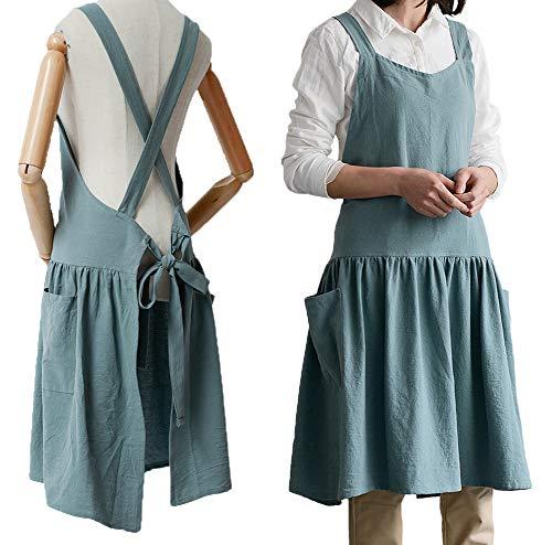 Women Girls Vintage Cute Apron Gardening Works Cross Back Cotton/Linen Blend Aprons Pinafore Dress with Two Pockets (lightgreen, (32' x 30'))
