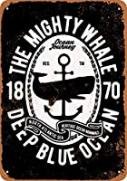 8 x 12 cm メタル サイン - The Mighty Whale 1870 メタルプレートブリキ 看板 2枚セットアンティークレトロ