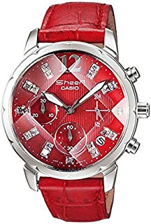 Casio Sheen Women's Red Dial Leather Band Watch - Shn5010L-4A, Red Band, Analog Display