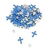 Oblique Unique® Deko Konfetti Kreuze Blau Silber Mix Streu Deko Tischdeko für Konfirmation Taufe Kommunion