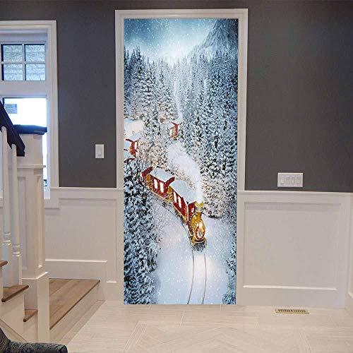 Pegatinas 3D para puerta de tren de hielo y nieve, se pueden utilizar para decoración de puertas de dormitorio y sala de estar, 77 x 200 cm