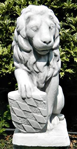 Dekofigur Gartenfigur Deko Skulptur Löwe mit Wappen auf rechter Seite H 41 cm aus Beton