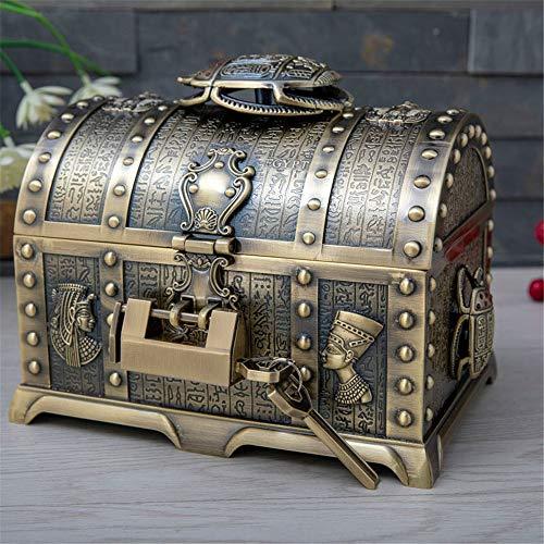 Metal Creative European-style Multi-layer Jewelry Storage Box High-end Exquisite Large Wedding Jewelry Box With Lock Vintage Metal Jewelry Box (Color : Bronze, Size : 20.5X13.6X14.5cm)
