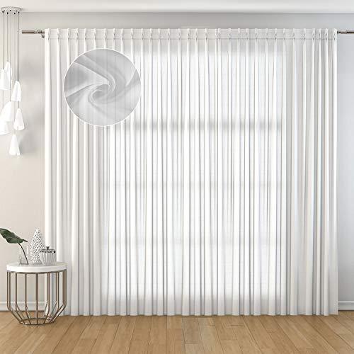 domus&trend Julia - Cortina semifiltrante con trama tupida pero con un grosor ligero con un estilo clásico y minimalista (blanco, 150 x 280 cm)
