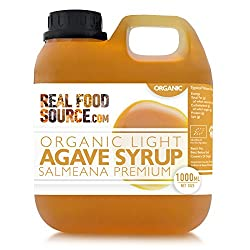 Organic Light Agave Syrup 1L from the Premium Salmeana Agave Plant Packed in a Convenient 1 Litre Jerry Tub at the Lowest Bulk Price Sweet, Mild and Runnier than Honey Sweeten Hot and Cold Foods and Drinks We love it on Cereals and in our Homemade Ba...