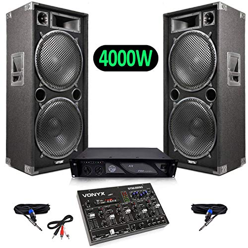 Lautsprecher Pack Live Sound 4000W + Mixer 8-Kanal-Sound-Effekte, SD/USB / MP3 / BT + Amp 3000W AX