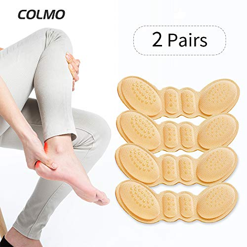 Heel Grips COLMO Gel Heel Cushion Inserts for Loose Shoes -3D bufferfly Anti Slip - Prevents Slipping Out - Gel Heel Grips & Shoe Pads - for Women High Heels Too Big (Milky White)