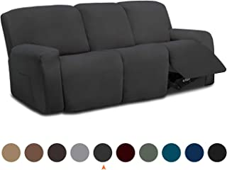 Easy-Going 8 Pieces Microfiber Stretch Sectional Recliner Sofa Slipcover Soft Fitted Fleece 3 Seats Couch Cover, Washable Furniture Protector with Elasticity for Kids,Pet (Recliner Sofa,Dark Gray