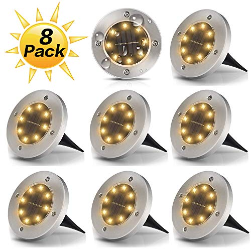 Dekugaa Solar Ground Lights, Disk Lights Waterproof in-Upgraded Outdoor Garden Waterproof Bright in-Ground Lights for Lawn Pathway Yard Driveway, with 8 LED (Warm White)