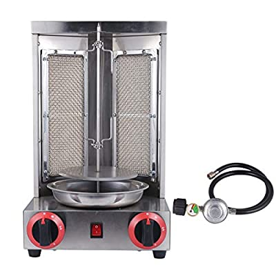 BIZOEPRO Shawarma Doner Kebab Machine Gyro Grill With 2 Burners Vertical Broiler Commercial home Vertical rotisserie Kitchen Backyard & 3FT Low Pressure Regulator with Propane Tank Gauge by