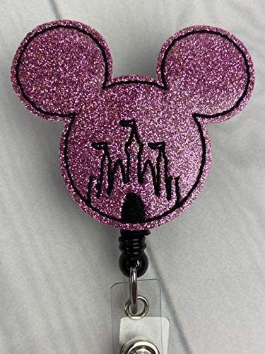 Pink Mouse, Mickey Mouse Minnie Mouse Castle Badge Reel, Mouse Ears Badge Reel, ID Holder with Alligator Clip, Medical Nurse Badge ID