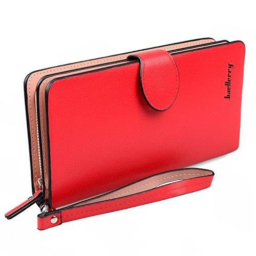 hengying Ledergeldbörse, Clutch, lang, Handtasche, Brieftasche mit Handschlaufe & Münzfach, für Damen/Mädchen Schwarz rot L